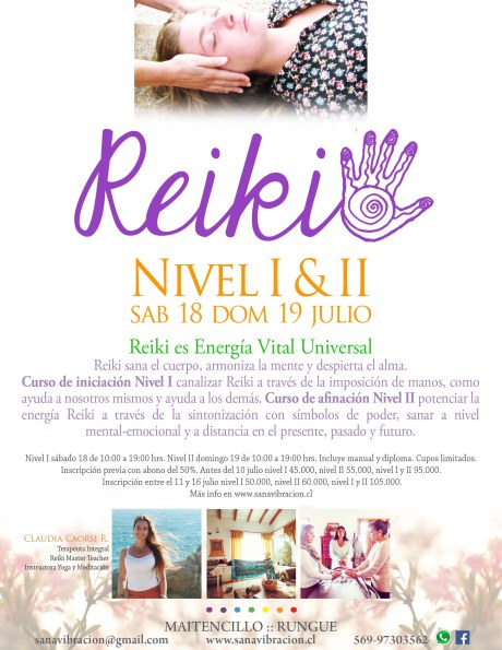Afiche Reiki Nivel I y II julio 2015