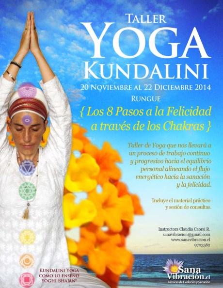 afiche taller yoga los 8 pasos a la felicidad