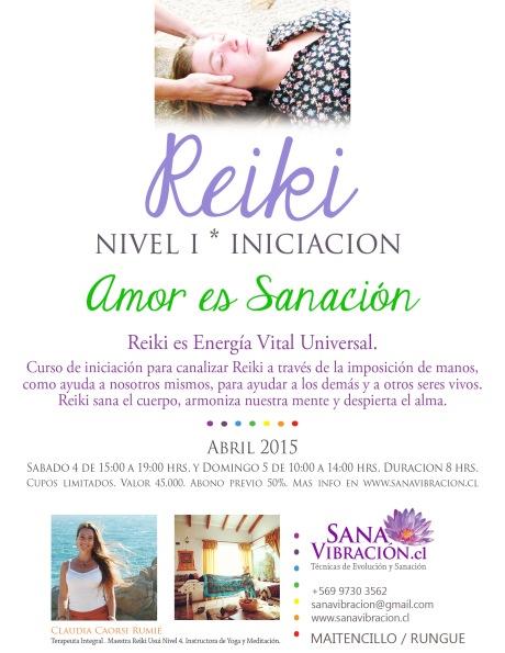 Afiche Reiki Nivel I el 4 y 5 Abril 2015